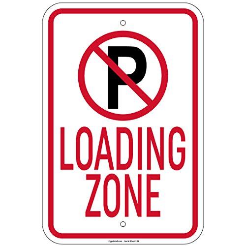 "Heavy Gauge Loading Zone w/''P'' No Parking symbol 12"" x 18"" Aluminum Signs"