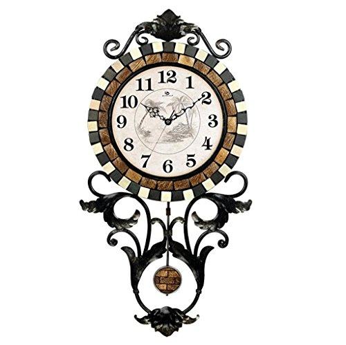 Bonne action Horloge murale Mode Creative Salon Horloge murale en métal en fer forgé Vintage grand jardin moderne Swing Clock Mute