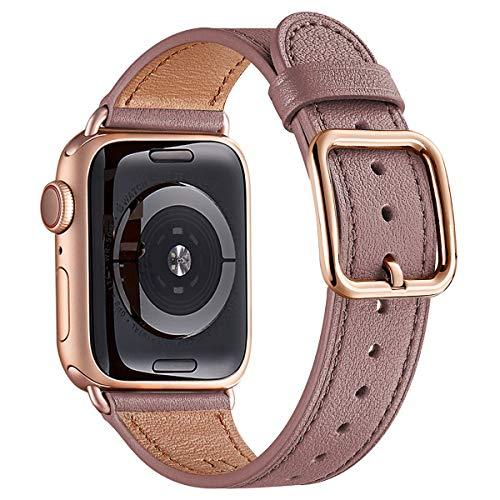 Mnbvcxz, Uhrenarmbänder, kompatibel mit der Apple Watch, 38 mm, 40 mm, 42 mm, 44 mm, Band aus Top-Grain-Leder, Ersatzband in mehreren Farben erhältlich für iWatch-Serie 5/4/3/2/1, Einzigartiges Design