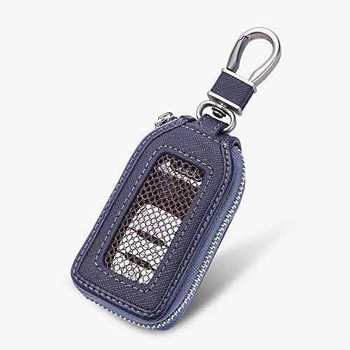 Key Fob Case - Genuine Leather Car Remote Smart Key Holder with Hook Auto Keychain (Blue)