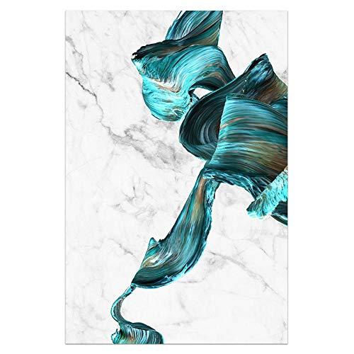 U/N Impresión de Arte Abstracto Cuadro sobre Lienzo para Pared Carteles Verdes y Blancos Modernos decoración del hogar Turquesa decoración de Sala de Estar-6