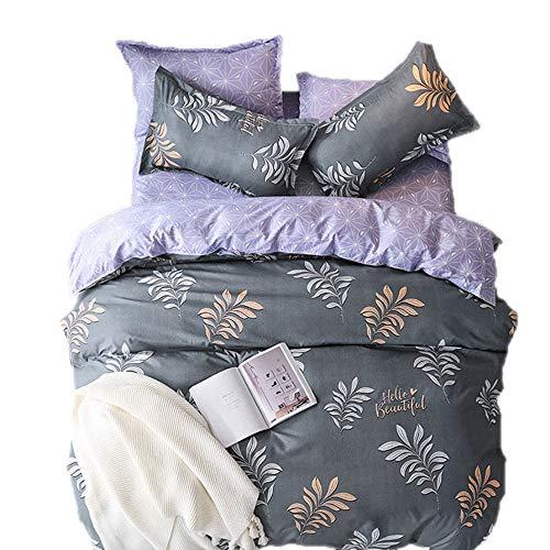 Sticker superb Tropische Natur Grün/Grau Blätter Bettwäsche Set, Luxus Grau 1 Person Bettbezug Set mit Kissenbezug (Blatt-Grauer Hintergrund, 135_x_200_cm)