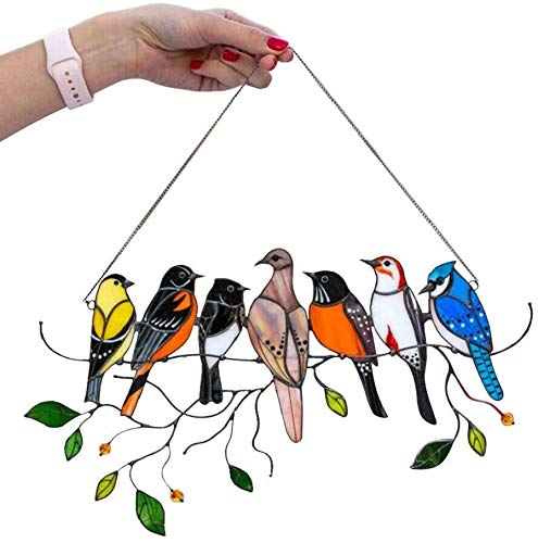 Multicolor Birds on a Wire High Stained Glass Acrylic Window Panel Bird Series Ornaments Pendant Home Decoration, Gifts for Bird Lover (7Pcs)