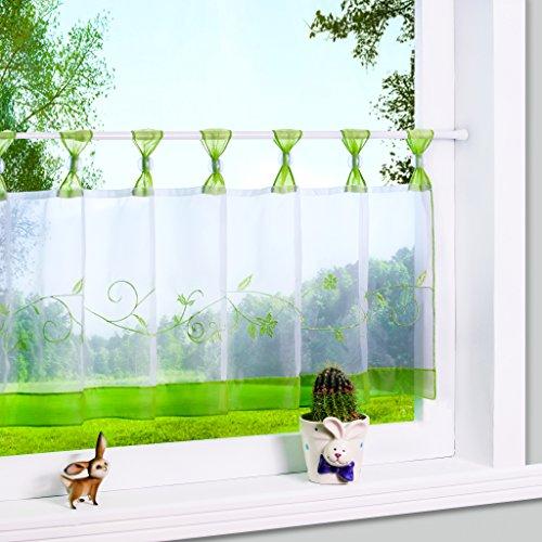 Yujiao Mao 1er Pack Stickblume Schlaufen Scheibengardine kleine Kaffee Vorhang Terri Garn Raffrollo, HxB 45x120cm, Grün