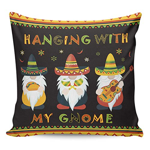 COLORSUM Mexico May 5th Festival Cinco De Mayo Gnome Hanging with My Gnome Throw Pillow Covers Cushion Case Cotton Linen Decorative Throw Pillow Covers for Sofa Couch Decoration 18x18 inch