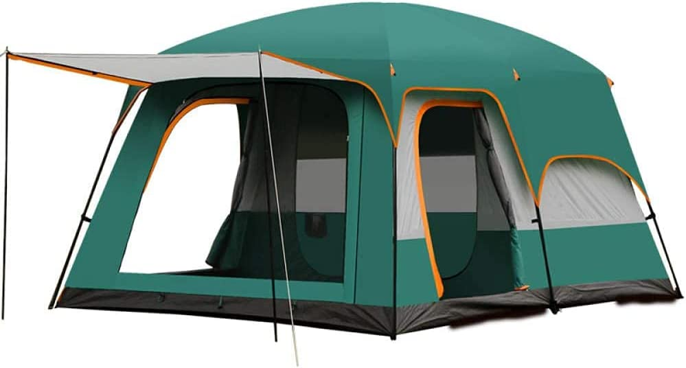 Large Tent 8~10 Person,Big Tent Partition Design,Family Dome Tent with 2 Sleeping Cabins,Camping Tent Waterproof Double Layer,2 Rooms with 3 Doors and 3 Windows with Mesh