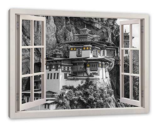 Pixxprint vastzetten in de berg, ramen canvasfoto | muurschildering | kunstdruk hedendaags 60x40 cm