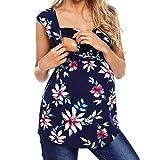 Camiseta de Las Mujeres Embarazadas Fotografia SHOBDW Tops Sin Mangas De Verano Estampado Floral Ropa De Dormir Suelta Lactancia Nusring Bebé Maternidad Ropa Talla Grande S-XXL(Negro,XL)
