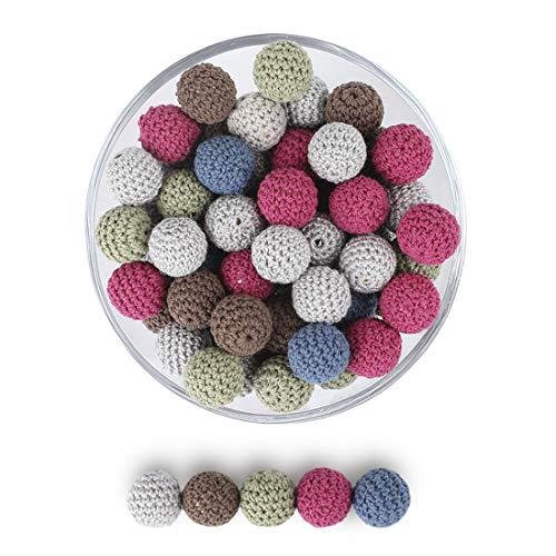 let's make Bolas de Ganchillo Redondas de Dentición Bricolaje Cuentas de Algodón 50pc Cuentas Mixtas de 5 Colores Accesorios de Madera Orgánica Natural Decoración del Hogar (Rojo Marrón)