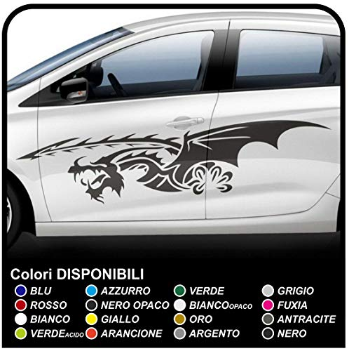 Pegatinas laterales para coche Tiras adhesivas para coche, Dragon Tribal Dragon Stickers cm 170 (BLANCO MATE)