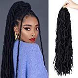 18 Inches New Faux Locs Crochet Hair New Soft Locs Synthetic Hair 7 Packs Goddess Curly Faux Locs Crochet Hair Extensions Natural Black 21Strand/pack(18'1B)