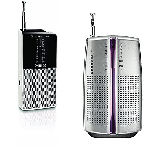 Philips Ae1530/00 Radio Portátil Tamaño Bolsillo (Negro con Plateado) + Grundig Radio Portátil City 31 / Pr 3201 Chrome