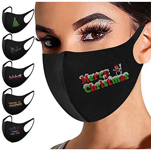 5 Stück Mundschutz Waschbare Erwachsene,Weihnachts Glänzend Strass Mund Nasenschutz mit Motiv Glitzer Atmungsaktiv Mund und Nasenschutz Stoff