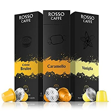 Nespresso Compatible Capsules - Flavors Pack (60 Pods) - Fit to All Original Line Machines - By Rosso Caffe