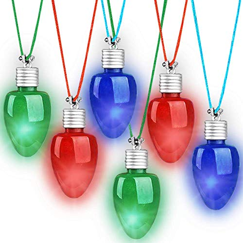 ArtCreativity Light-Up Christmas Bulb Necklaces, Set of 6, Festive Holiday Necklaces in Assorted Colors, Flashing Christmas Accessories for Women, Men, and Kids, Xmas Party Favors, Stocking Stuffers
