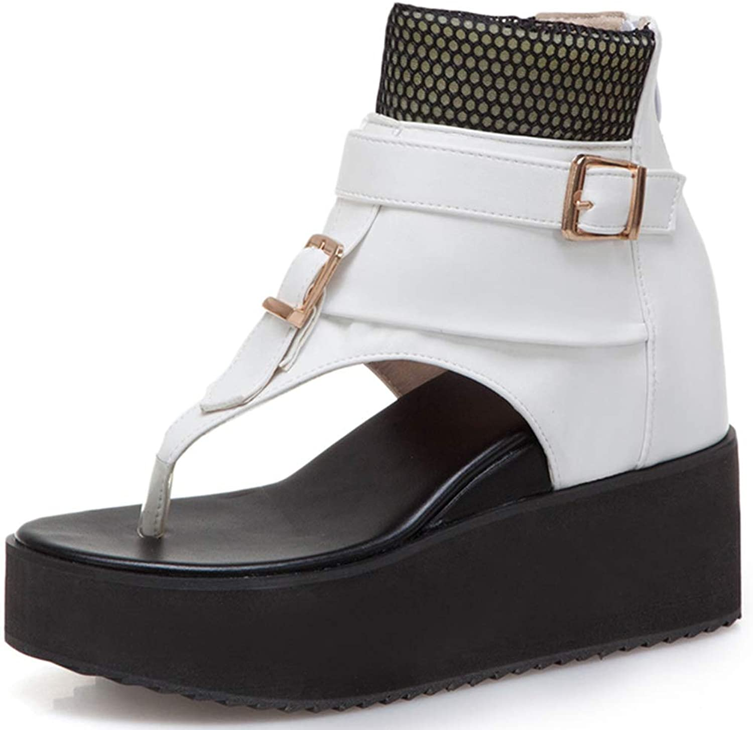 Vimisaoi Summer Rome Wedges Chunky Platform Sandals for Women, Soft Footbed Flip Flops Thongs Slip On Ankle Strap Casual shoes