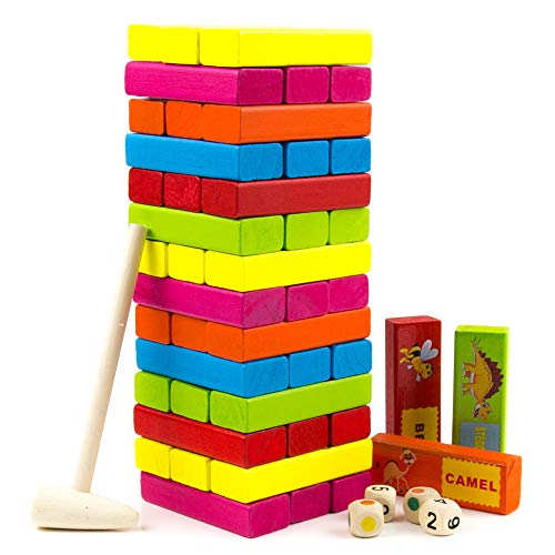 Tumbling Tower Stacking Game - Colored Wooden Block with Animals - Educational and Fun Building Blocks for Kids, Adults, and Toddlers - Tumbling Timber Tower - Wood Family Games - 54pcs by Toysery