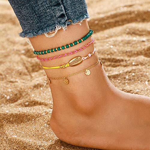 U/N Bohemian Beaded Ankle Bracelets Set Multilayer Shell Tag Pendant Bracelets Women Anklet Foot Jewelry Gift 4Pcs