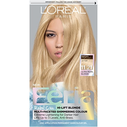 L'Oreal Paris Feria Multi-Faceted Shimmering Permanent Hair Color, 11.21 Bad to the Blonde (Ultra Pearl Blonde), Pack of 1, Hair Dye