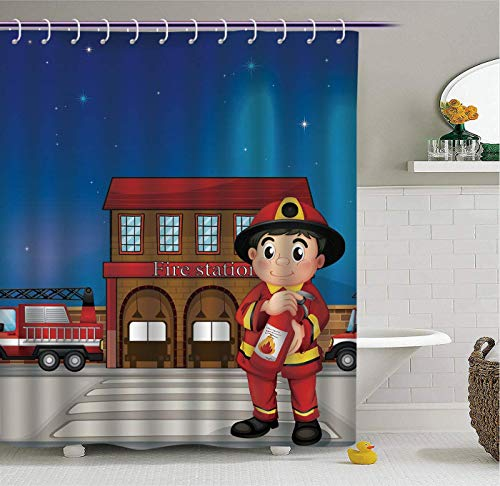 Aliyz Bombero Bombero de Dibujos Animados con patrón de extintor de Incendios baño Cortina de Ducha Tela Impermeable de poliéster Resistente y fácil de Limpiar Adecuado para baño habitación de Hotel