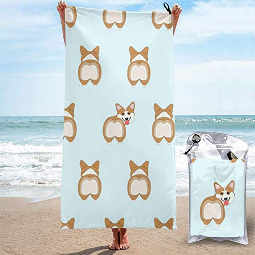 YUYUTE Toalla de baño, Beach Towels for Women Men Blanket Corgi Dog Puppy Bath Sheets Popular Polyester Swim Large Towel Cover for Yoga Mat Hiking Gym Tent Floor