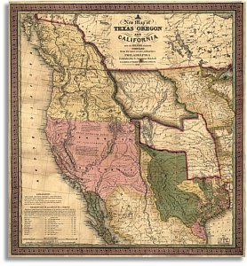 A New Map of Texas, Oregon and California with The Regions Adjoining, 1846