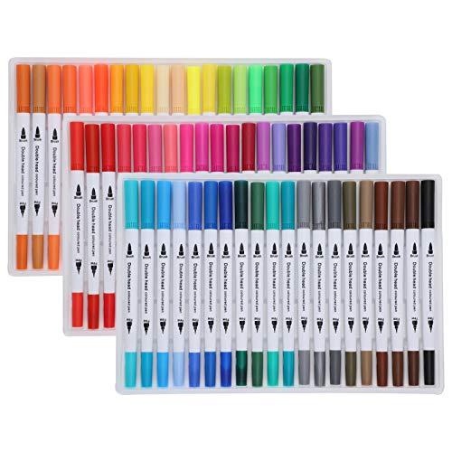 Rotuladores de pintura de acuarela, Rotuladores de acuarela de pintura Colores surtidos Punta de delineador fino suave Suministros de arte de doble pincel(STBG-60色)
