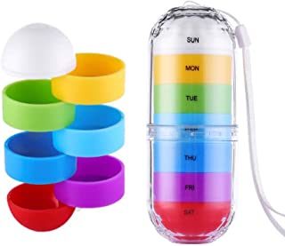 Pill Box Organizer - Rotatable Weekly Pill Case Holder Dispensers Portable 7 Days Planner Box Colorful Travel Medication Cases Containers with Water and Moisture Proof for Vitamin Fish Oil Supplements