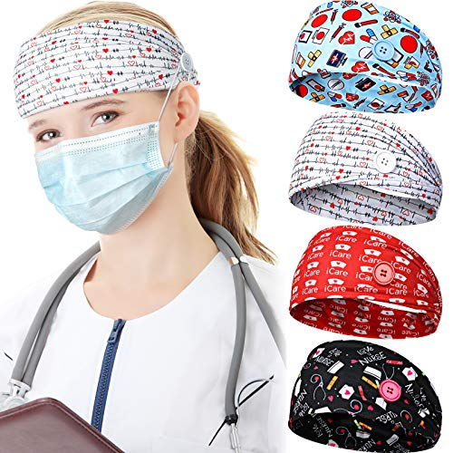 4 Pieces Face Covering Headbands for Women, Headbands with Buttons Nurses Bandanas for Ear Protector Head Wraps Elastic Hairband for Yoga Running Workout