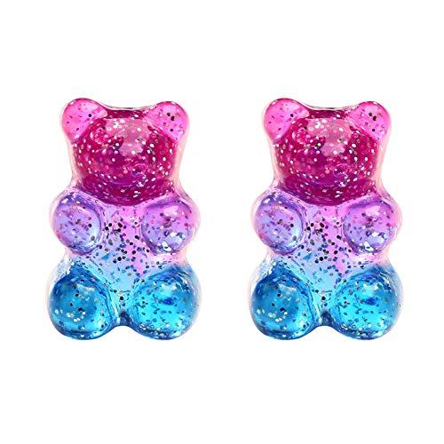Elibeauty Mini Gummy Bear Stud Pendientes para mujeres y niñas (azul)
