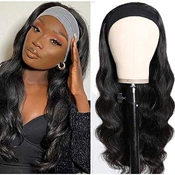 Headband Wig Human Hair Body Wave Headband Wigs for Black Women Glueless Headband Wig Brazilian Virgin Hair None Lace Front Wigs Machine Made Headband Wigs 150% Density  16 inch