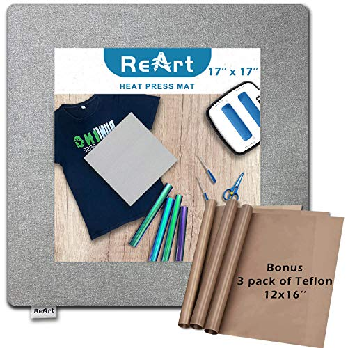 "ReArt Heat Press Mat 17"" x 17"" for Cricut Easypress Both Sides Applicable - Mat for Heat Press Machines and HTV and Iron On Projects"