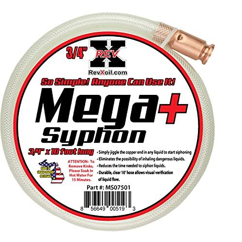 REV X Mega Syphon - 3 4  x 10 Foot Long Self Priming Safe Siphon Hose for Water, Gas, Fuel, Diesel