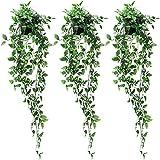 MAISITOO 3X Plantas Artificiales,Plantas Hiedra Artificial Decoración Interior y Exterior Plastico Macetas Pequeñas Decorativas Plantas Falsas Habitacion Modernos Decoracion Boda