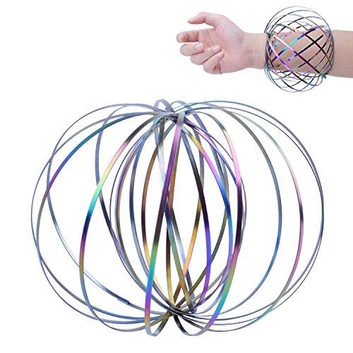 euhuton Edelstahl Arm Ring Spielzeug 3D Magic Flow Ring interaktive kinetische Feder Armband Dekompression Spielzeug für Kinder und Erwachsene, bunt