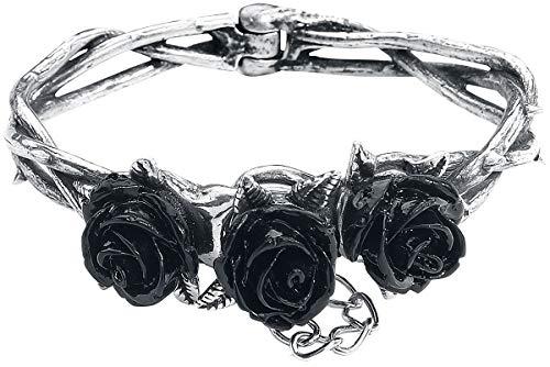 Alchemy Gothic Wild Black Rose Frauen Armband silberfarben S-M Hartzinn Gothic, Rockwear
