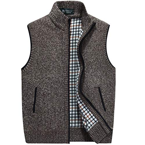 Flygo Men's Stand Collar Zipper Sweater Vest Knitted Sleeveless Jacket Cardigan (Large, Coffee)