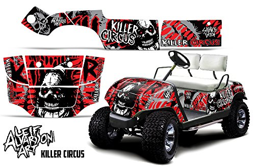 Savage Kits Golf Cart Graphics kit Sticker Decal Compatible with Yamaha 1995-2006 - Killer Circus Red