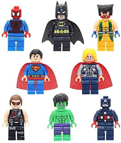 Toy Marvel Vengadores Superhéroes Batman, Spiderman, Wolverine, Hulk Mini, Sonic el erizo, figuras de Ninja de tortuga mutante, ajuste Lego (juego A - (8 juguetes)