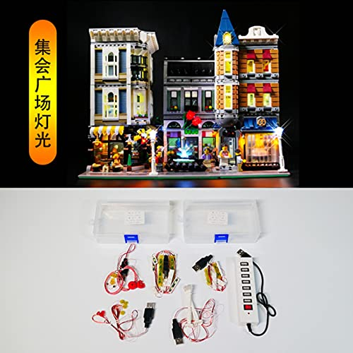 ASDFG Juego de Luces LED 10255 Bloques de construcción Creator City Street Assembly Square Juguetes compatibles (luz con Caja de batería)