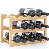 Gräfenstayn® 30550 Botelleros VERONA - apilable de madera de bambú para 12 botellas de vino- tamaño 42x21x28 cm (LxAnxAl) portabidones de vino