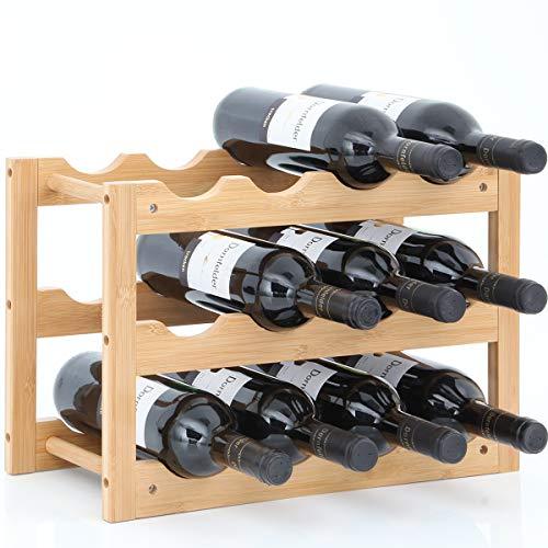 Gräfenstayn® Weinregal VERONA - aus Bambus-Holz für 12 Wein-Flaschen - Größe 42x21x28 cm (LxBxH) Weinflaschenhalter Weinkiste Flaschenregal