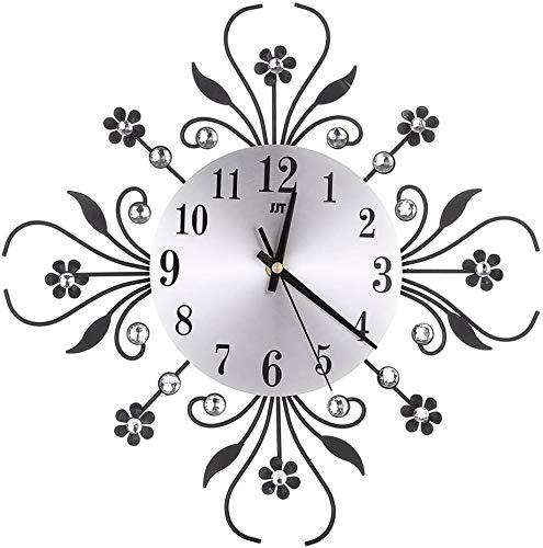 PSL Modern Crystal Diamond Wall Clock, Flower Wall Clock Silent Metal Clock for Living Room, Bedroom, Home Wall Art Decoration (Black)