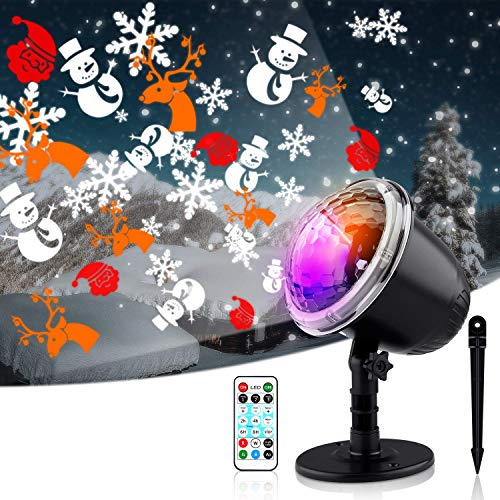Snowflake Projector Lights, Christmas Projector Light Outdoor, Waterproof Landscape Decorative Lighting for Xmas Holiday Party Garden Patio