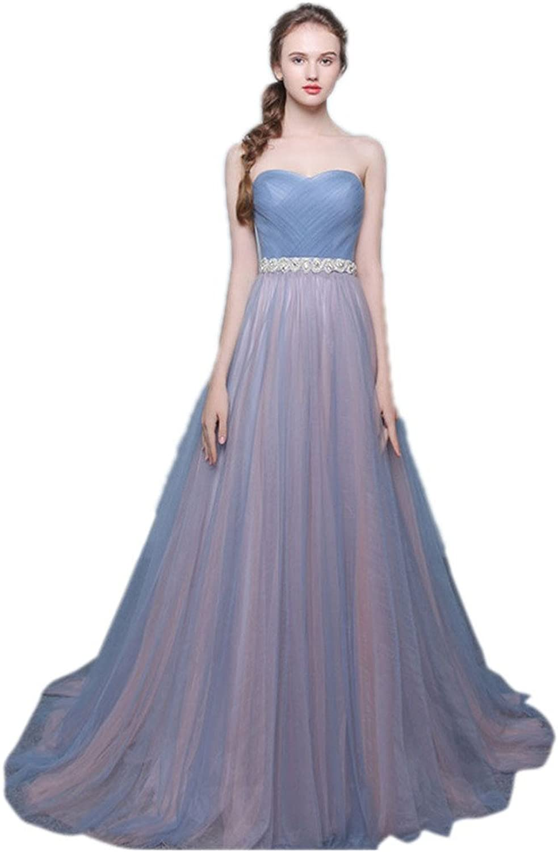 JoyVany ALine Tulle Long Formal Evening Dress Beaded Bridesmaid Dress with Belt