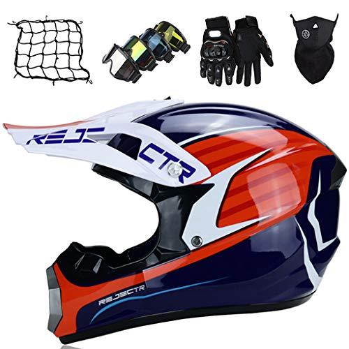 Conjuntos de Cascos de Motocross Blanco Azul Casco de Moto para Niños Casco de Choque Todoterreno Unisex Casco de Bicicleta de Montaña para Downhill Enduro MX, con Diseño FOX