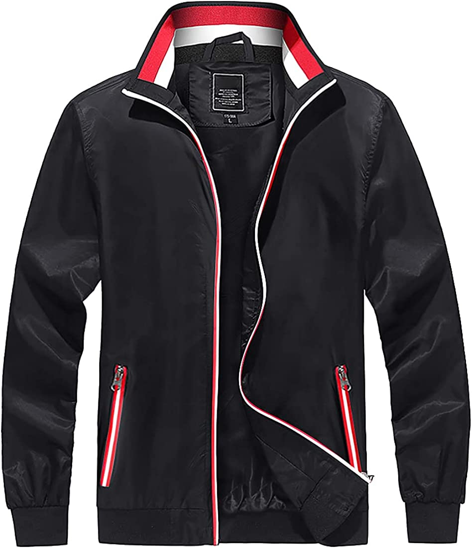 CRYSULLY Men's Windproof Bomber Jacket Casual Lightweight Full Zip Jacket Coat