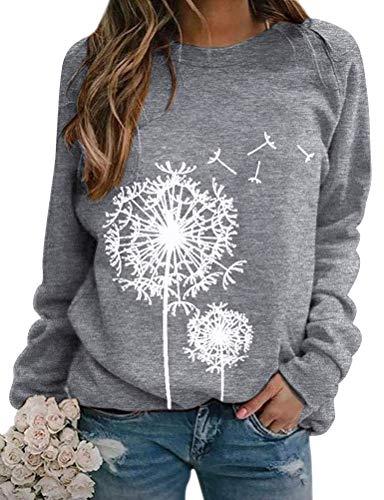 Dresswel Damen Löwenzahn Sweatshirt Langarmshirt Pusteblume Drucken Pullover Herbst Winter Bluse Tops Oberteile (Grey, M)