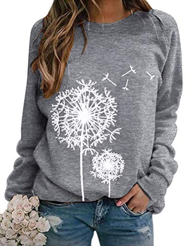 Dresswel Damen Löwenzahn Sweatshirt Langarmshirt Pusteblume Drucken Pullover Herbst Winter Bluse Tops Oberteile (Grey, XL)
