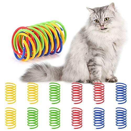 atnight Buntes Frühling Katzenspielzeug Set, 12 Stück /4 Farben Kunststoff Spiral Spirale Federspielzeug Katze Interaktives Frühlingsspielzeug Neuheit Haustiere Spielzeug Geschenk zum Trainieren Katze